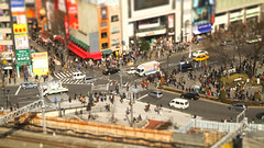 Tiny Town (Marquisde) Tags: road street people cars japan train toy tokyo miniature shinjuku crossing small crowd tracks mini busy 7d   intersection tiltshift faketiltshift canonefs1755mmf28isusm tiltshiftmaker