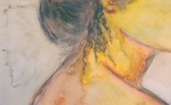 woman/jellyfish (Morganthorn) Tags: woman pencil watercolor hair nude sketch back jellyfish image crayon impressionist partial renoir