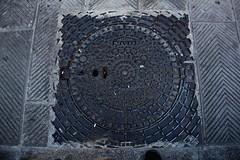 PAM (Satin Ribbon) Tags: street italy texture lines metal grate foot shoe florence italia pattern toe metallic dirty pam rough circular chevrons brownshoe florenzie