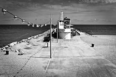 Style By The Sea (Dave G Kelly) Tags: barcelona travel sea vacation sky blackandwhite bw holiday beach lines lights restaurant pier vanishingpoint spain horizon catalonia espana traveldestinations 2013