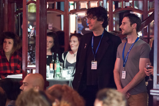 Waiting in the wings: Neil Gaiman and Craig Silvey get ready to get on stage for Literary Death Match