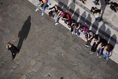 Should I stay or should I go (Saumil U. Shah) Tags: shadow wallpaper people italy flickr shadows streetphotography row diagonal pisa piazza duomo figures desktopwallpaper select shah saumil saumilshah