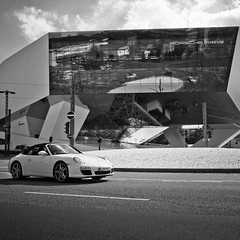 Porsche Museum (city/human/life (a little bit longer break)) Tags: auto autumn blackandwhite bw white black building cars car rain weather museum architecture clouds germany deutschland nikon stuttgart herbst himmel wolken exhibition september porsche architektur sw autos brücke classiccars regen weg chl carmuseum porscheplatz porschemuseum geländer automobil badenwürttemberg automuseum 2011 d90 zuffenhausen schwarzweis nikond90 stuttgartzuffenhausen cityhumanlife porscheheadquaters