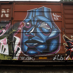 (BCalico) Tags: train bench graffiti character alb graff freight pawn fr8 texer