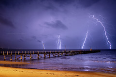 Australia (john white photos) Tags: city sea storm beach night danger bay coast pier marine australian australia strike lightning southaustralia portlincoln eyrepeninsula townjetty