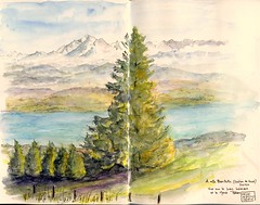 Vue sur la France depuis la Suisse - A view of France from Switzerland (martinepittet) Tags: switzerland aquarelle journal zeta stillman croquis 2013