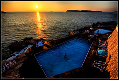 Sunset swim... (Len_Scapov) Tags: sunset pool swimming rocks adriatic peninsular hotelneptun babinkuk lenscapov ourhotelindubrovnik