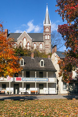 fallin' (for Harpers Ferry) (dK.i photography (counting down)) Tags: autumn fall church leaves historic steeple foliage harpersferry arcitecture westvirgina