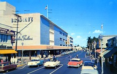Andrews Avenue looking north Ft Lauderdale FL (Edge and corner wear) Tags: street chevrolet 1955 station wagon shoe store pc downtown florida fort convertible scene lodge chevy 1950s lauderdale motor burdines avenue department oldsmobile