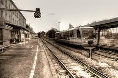 Bahnhof - railroad station (vampire-carmen) Tags: trees winter sky building sepia train photoshop germany bayern deutschland bavaria europa e