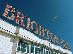 Brighton Pier (peterphotographic) Tags: red sea beach sussex coast brighton seagull bluesky eastsussex brightonpier canong12 camerabag2 img4436cb2ccross2edwm