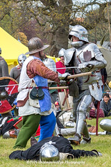 [2014-04-19@15.27.57a] (Untempered Photography) Tags: history costume fight helmet battle medieval weapon sword knight shield combat armour reenactment skirmish combatant chainmail canonef50mmf14 perioddress polearm platearmour gambeson poleweapon mailarmour untemperedeye canoneos5dmkiii untemperedeyephotography glastonburymedievalfayre2014