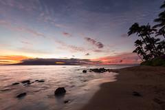 Maui Beach (Lance Sagar) Tags: ocean trees sunset sea usa beach clouds canon hawaii rocks waves pacific maui palm 7d hi