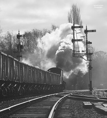 Powering Away (70C Photography) Tags: uk monochrome canon flickr leicestershire trains steam age 7d timeline railways charters greatcentralrailway 2015 twitter 1875mm jamescummins neilcave