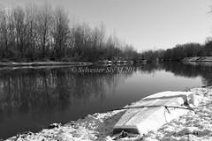 Boat under snow (Silvestar Matejak) Tags: winter bw snow river boat blackwhite croatia calm zima varazdin hrvatska snijeg rijeka drava varadin idila amac