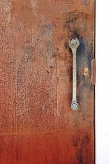 Door Doors Metal Metallic Rust Wrench  Tool Keyhole Door Handle IPhoneography Snapseed Quito Ecuador Street Photography Industrial Taking Photos (therafa) Tags: door metal quito ecuador rust industrial doors metallic streetphotography keyhole tool doorhandle wrench takingphotos iphoneography snapseed