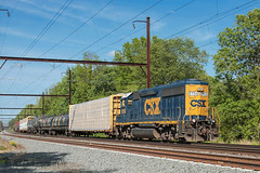 CSXT EMD GP38-2S #6158 @ Yardley, PA (Darryl Rule's Photography) Tags: sun train reading spring pennsylvania may trains pa local passenger septa freight buckscounty westbound catenary eastbound csx freighttrain passengertrain emd c770 regionalrail csxt readingrailroad sd70mac mixedfreight yadley q418 trentonsub