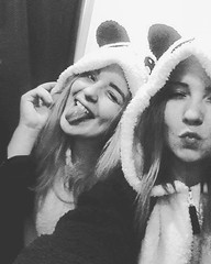 Pandas #25 (klaudiastach) Tags: friends happy crazy 25 blacknwhite bf pandas fittingroom goodday