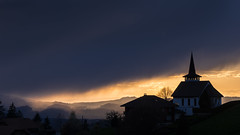 Stormy sunset | In Explore | (manuelchopard) Tags: sunset color church silhouette dark landscape switzerland thun bern sonya7 sony70200f4g