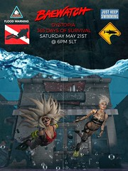 BaeWatch Poster (Flit Ulrik // Agent Orange) Tags: life party water leather swimming swim robot suits punk watch ad saturday wave bubbles scuba sl event bikini secondlife second bathing cyborg splash bae flippers android cyber swagga