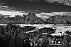 A Grand View of the Teton Mountain Peaks and Snake River (Black & White) (thor_mark ) Tags: trees day2 mountains nature river blackwhite unitedstates moose evergreen snakeriver wyoming grandteton snowylandscape lookingwest tetonrange grandtetonnationalpark project365 snakeriveroverlook mountowen middleteton colorefexpro teewinotmountain southteton mountainsindistance mountsaintjohn blueskieswithclouds silverefexpro2 nikond800e anseladamsphotopoint mountainsoffindistance capturenx2edited hillsideoftrees triptoidahoandgrandtetons greateryellowstonerockies