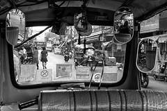 Voir ou conduire....! (poupette1957) Tags: life street city travel people black detail art car canon town photographie noiretblanc interior humour curious deco rue birmanie grandangle atmosphre humanisme imagesingulires
