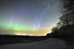 Aurora Borealis (Kirby Wright) Tags: county pink blue orange green wisconsin way stars lights nikon long exposure purple angle space wide astrophotography aurora dane northern pillars milky f28 mounds borealis polaris 14mm rokinon d700