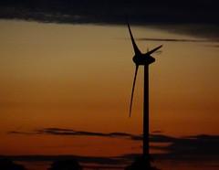 Wind Turbine At Dusk. June 2016 (SimonHX100v) Tags: nottingham uk sunset red england cloud silhouette night clouds dark dusk nighttime nottinghamshire windturbine woodborough gedlingboroughcouncil sonyhx100v simonhx100v