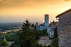 from the hilltop (R. Welch) Tags: travel summer sky urban italy history architecture buildings religious ancient colorful europe italia medieval historic summertime assisi umbria ancienttown italianhilltoptown fujifilmx100s