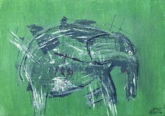 Wounded Elephant In Motion (Aaron Sheahan) Tags: red white elephant abstract motion black green animal animals june painting paper grey mixed media paint acrylic panel pastel small wounded gray mini canvas oil expressionism works 2016