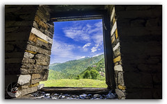 Glorious Himalayas through the window! (Window of Wonders) (KS Photography!) Tags: old summer india house mountain building texture abandoned window nature beautiful beauty field grass rock vertical stone wall architecture clouds landscape countryside construction ruins colorful looking outdoor background empty perspective sunny indoor bluesky nobody glorious hut silence frame dreams environment through concept framework archeology far himalayas himachalpradesh wodden beautyinnature janjehli glorioushimalayas windowofwonders windowtowonders