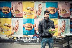 Hamburger, ice cream and flowers (aenkae) Tags: street man paris flower color fleur bunch bouquet rue couleur homme