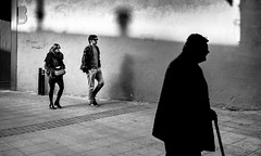 ... Time and Life ... (Fede Falces ( ...... )) Tags: barcelona life people blackandwhite bw silhouette couple shadows time noiretblanc candid young oldman olympus streetphoto lnes