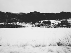 On the Train to Takayama 5 (Jon-F, themachine) Tags: blackandwhite bw snow monochrome japan rural landscape asian outdoors landscapes countryside asia country olympus monochromatic  nippon japo grayscale oriental orient fareast  gifu  bnw nihon omd japn 2016  nocolor m43  mft    mirrorless   micro43 microfourthirds  ft xapn jonfu  mirrorlesscamera snapseed   em5ii em5markii  giftken