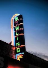 Bowl Mor (Pete Zarria) Tags: iowa neon sign bowling pin ball amf