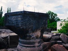 Eagle capital of Zvartnots cathedral (lar-f) Tags: church architecture temple ruins eagle outdoor capital armenia column zvartnots