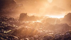 Another World (Augmented Reality Images (Getty Contributor)) Tags: alien canon coastline landscape lensflare light lowtide mist portknockie rockpools rocks scotland seaspray seaweed shadow sunset sunshine water