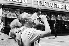 (red line highway) Tags: street city summer people blackandwhite white man black water monochrome 35mm stpetersburg photography bottle nikon downtown time russia documentary social thirst