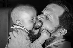 My money is on the little fella ... he don't fight fair (Niaic) Tags: blackandwhite baby child father son family parent attack grip grasp portrait nuzzle love happy play playful playing silly dad joy fun funny roar embrace
