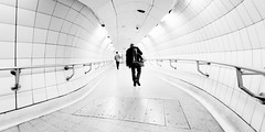 Interchange (Sean Batten) Tags: city uk england urban blackandwhite bw london subway nikon metro tunnel commuter londonunderground d800 bakerlooline londonwaterloo 1424