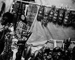 Huesca, Spain 1997 (Alberto Prez Puyal) Tags: africa street leica wood bw woman black photography spain huesca sad mask african plus hp5 vendor sell m2 ilford sculptures aragn