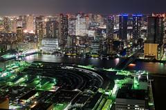 City Light (Ted Tsang) Tags: longexposure travel bridge japan skyline night reflections tokyo boat ship cityscape nightscape olympus tsukiji     kachidoki minato tsukijimarket shiodome observationdeck em1 lighttrail     carettashiodome  voigtlandernokton25mmf095  tsukijiohashi