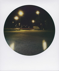 The red trail (ale2000) Tags: road longexposure nightphotography light night analog highway trails trail 600 round instant luci poles analogue nocturne notte lampioni impossible notturno autostrada i1 instantphotography striscia analogico redtrail manualexposure roundframe