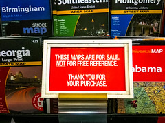 Maps for sale not free reference convenience store sign (CarmenSisson) Tags: signs conveniencestore gasstation forsale rant snooty snotty message typography rude maps usa