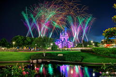 Cinderella Castle Reflects on Wishes (TheTimeTheSpace) Tags: castle night reflections stars nikon fireworks disney disneyworld wishes waltdisneyworld hdr magickingdom d800 cinderellacastle ndfilter matthewcooper photomatix thetimethespace
