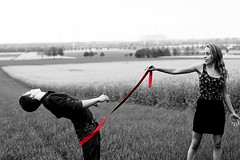 red tie (Applepiecake) Tags: boy red white black girl spring tie backround