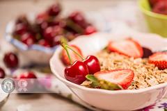 Two Cherries   :-) (Cristian Sabau) Tags: wood summer food macro nature horizontal fruit photography strawberry raw cut knife bowl sugar romania extremecloseup transylvania foodanddrink freshness selectivefocus groupofobjects sweetfood