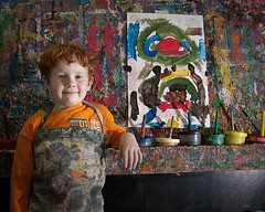 Little Picasso (Woody M) Tags: portrait texture proud catchycolors painting artwork nikon nef northcarolina naturallight greensboro redhead relaxed sidelighting youngchild d90