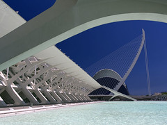 Valencia's Ciudad de las Artes y las Ciensias, Spain - the Agora, suspension bridge and Museo de las Ciensias 2 (Jon Bower) Tags: city blue sky geometric glass architecture modern spain arts azure ciudad cloudless artes palau sciences agora concret hemisferic aluminim valenica umbracle modernistic ciensias meseu