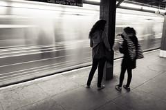 Subway (Julien Lagarde) Tags: nyc newyorkcity people blackandwhite bw ny newyork motion blur blancoynegro movement unitedstates noiretblanc manhattan citylife movimiento nb newyorker streetphoto rue flou mouvement